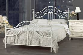 Modern white wrought iron bed decoration with white cabinets
