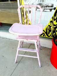 Light Wood Eddie Bauer High Chair by Dining Room Chic Distressed Antique Vintage Pink Jenny Lind