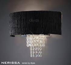 diyas il30271 bl nerissa wall l with black shade 2 light