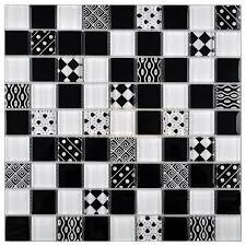 glasmosaik retro schwarz weiß wand küche fliesenspiegel 10