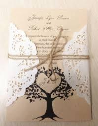 Amazing Lace Ribbon DIY Woodland Cutout Rustic Wedding Invitation