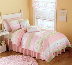 Pastel Pink & Green Bedding for Girls Twin Size 2pc Quilt Set