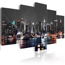 картина для интерьера leinwand bilder new york skyline stadt wandbilder wohnzimmer kunstdruck