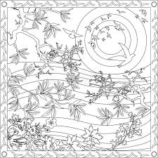 Download Coloring Page Book For Adults Square Format Japanese Style Design Sunset Vector Illustration Stock