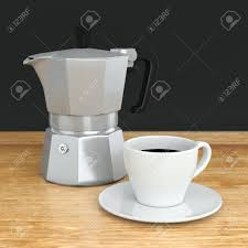 Moka Coffee Pot And White Ceramic Cup On Wood Cafe Table Metal