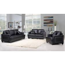 Ferrara Black Leather Sofa W Silver Nailhead Quilted Pillows By Meridian Furniture