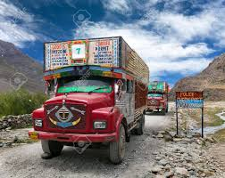INDIA LADAKH 20th SEPTEMBER 2013 Colorful Trucks Brand TATA.. Stock ...