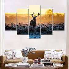 großhandel hirsch malerei wandbilder für wohnzimmer 5 stücke tier wandmalerei kunst bild poster home decoration leinwand kunst kein rahmen