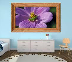 3d wandtattoo grille grün lila blume grashüpfer selbstklebend wandbild sticker wohnzimmer wand aufkleber 11k434