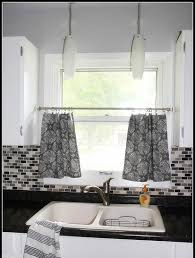 Marvellous Grey And White Kitchen Curtains Curtain Ideas Black With Some Motif Sink Backsplash For Dark Tile Floors Copper Cabinets Design Your Own Modern
