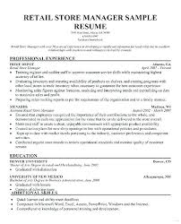 Retail Sample Resumes For Medium Small Fashion Store Manager Resume Free