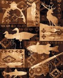 4 X 6 Country Theme Lodge Area Rug Southwestern Duck Deer Fish Fishing Cabin