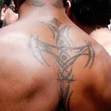 Body Chest Art Tribal Cross Tattoo On Back