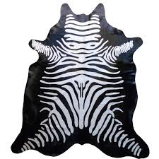 Southwest Rugs Zebra Stenciled Brown On Light Beige Cowhide Rug