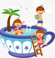 Children Swimming Inside The Cup Cartoon Illustration People Illustrator Of PNG