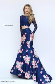 sherri hill 50488 is a long sleeve two piece prom gown with lace