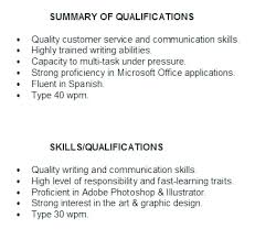 Skills And Abilities For Resume Qualification Examples Example Alternative