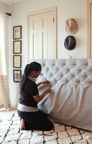 Black Leather Headboard With Diamonds by How To Make A Diamond Tufted Headboard