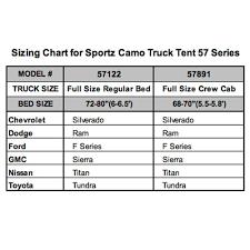 100 Truck Size Chart Napier Sportz Camo Tent 57 Series Full Regular Bed
