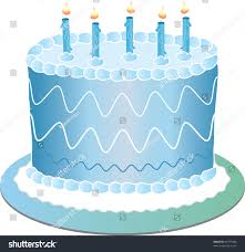 "Clip art illustration of a blue birthday cake with the number ""1"" for a"