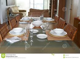 Dining Room With Table Setting Stock Photos Image 1543153 Luxury Settings