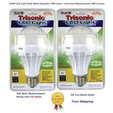 100 watt equivalent trisonic led light bulbs 12w daylight 2 pack
