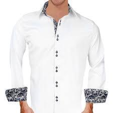 White And Black Paisley Dress Shirts
