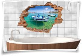 3d fliesen bild er azurblau wand maritim e deko bad fliesen aufkleber boots fahrt bucht lagune urlaub meer erholung