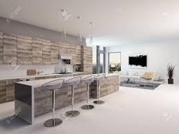 rustikale holz offene küche interieur mit einer langen theke und hocker in einem geräumigen wohnzimmer mit eckfenster