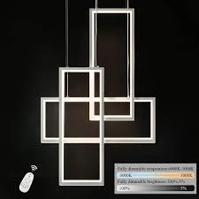 zmh led pendelleuchte dimmbar 3 flammig hängele 74w geometrisch weiß hängelleuchte 150cm höhenverstellbar kronleuchter mit fernbedienung für