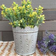 Image Is Loading 11CM METAL TIN FLOWER POT BUCKET PLANTER RUSTIC