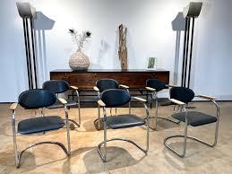 6 italien holz chrom leder freischwinger esszimmer büro stühle