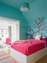 Bedroom Amusing Tree Stickerwall Pink Quilt On White Bed And Pendant Lamp For Teenage Girls Room How To Decorating A In Creative Way