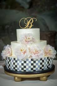 Navy white and silver wedding cake
