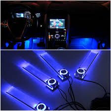 4 In 1 12V Romantic LED Blue Car Decorative Lights Charge LED ...