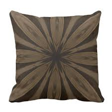 Rustic Brown Flower Kaleidoscope Design Throw Pillow