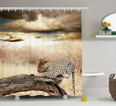 safari decor duschvorhang set leopard ruht unter