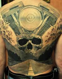 3D Tattoo Of Harley Davidson Engine On Back