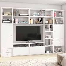 weiße tv wohnwand mit vielen fächern penanza