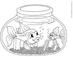 Fish Bowl Coloring Page KinderArt