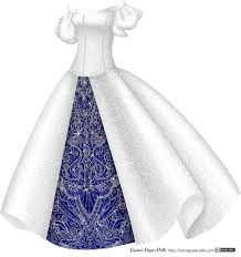 A silvery white gown with a delicate small scroll pattern all over The dress Another princess dress