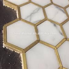 mosaik fliesen backsplash kreative design hexagon goldene metall rand lobby studie zimmer badezimmer fliesen buy mosaik fliesen backsplash bad wand