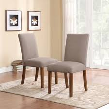 Grey Upholstered Dining Chairs With Nailheads by Dorel Living Linen Parsons Chair Set Of 2 Dark Pine With Gray
