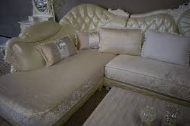 cochgarnitur barock weiss velourstoff kristall komplett sofa