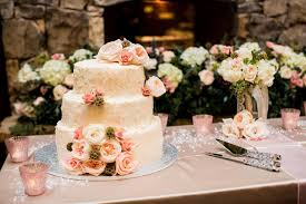 White Cake With Peach Flowers And Succulents Rustic Country Wedding In Blush Navy