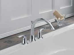 Delta Floor Mount Tub Faucet by Delta Lahara Double Handle Deck Mount Roman Tub Faucet Trim