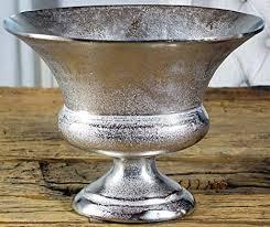 michaelnoll vase blumenvase gefäß pokalvase dekovase aluminium silber luxus deko modern aus metall wohnzimmer und küche m 38 cm