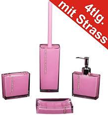 badezimmer set 4tlg strass pink seifenspender wc bürste zahnbürstenhalter schale bad accessoires
