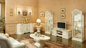 details zu wohnzimmer set tv wohnwand leonardo beige hochglanz stil klassisch italienisch
