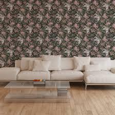 a s création vliestapete character tapete mit floral grau grün rosa